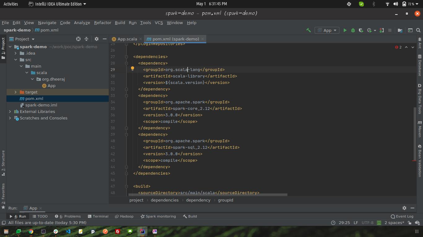 spark-demo pom.xml Screenshot